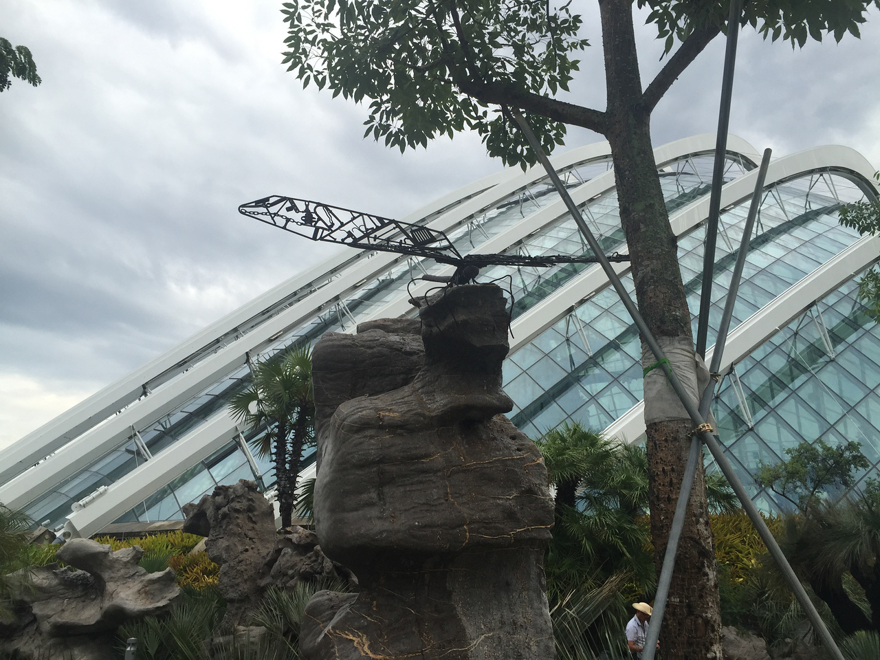 and sculpture and indoor tropical rainforests