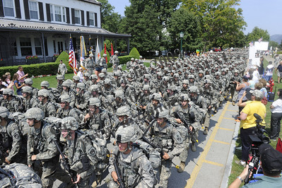 United States Military Academy cadets of the Class of 2014 March Back to West Point, past the Superintendent General Huntoon at Quarters 100 on August 8, 2010 marking the end of Cadet Basic Training (CBT)  Photo:  Greg E. Mathieson Sr. /  MAIphoto.com