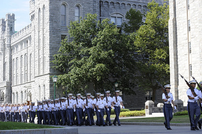 "West Point class of 2014 plebes march with the Corps of Cadets on The Plain of the US Military Academy at West Point during ""A - Day"" Acceptance Day of the new class into the Corps of Cadets.  Newly appointed Superintendent, Lt, General, David Huntoon reviews the  passing cadets."