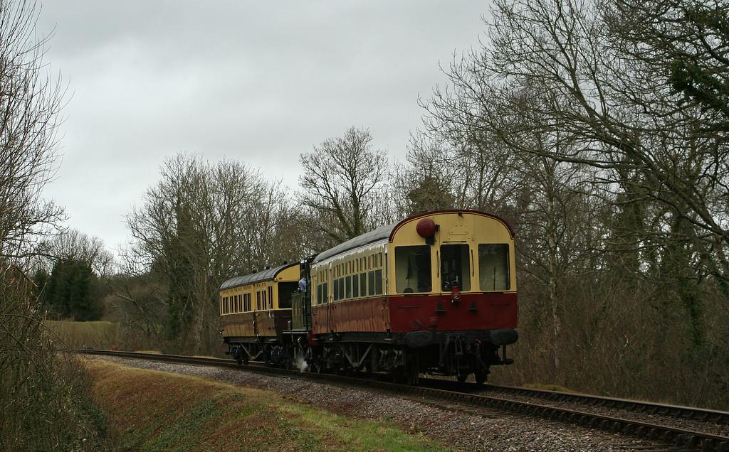 1450, propelling 08.30 Minehead-North Fitzwarren, Nornvis Bridge, near Crowcombe Heathfield, 8-3-08.