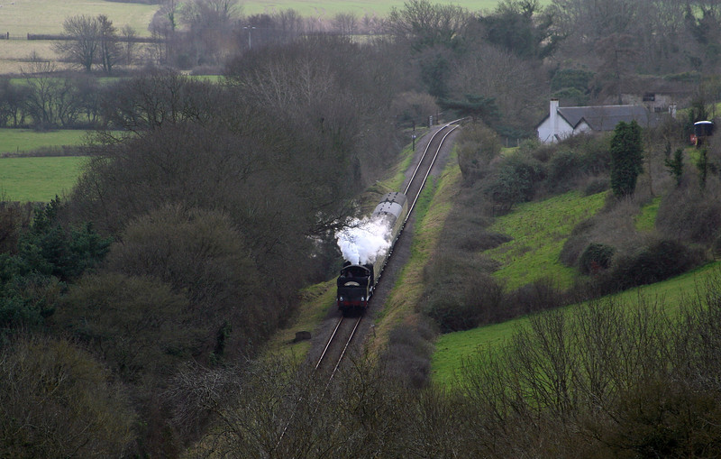 9351, Steam Engineman Course special, approaching Kentsford Farm, near Watchet, 1-3-08.