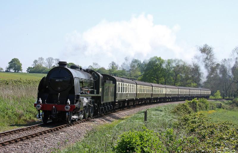 30777, 13.20 Bishops Lydeard-Minehead, Steam Engineman Course special, Trebles  Holford, near Crowcombe Heathfield, 28-4-11.