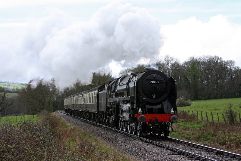 70000, Minehead-Bishops Lydeard Steam Engineman Course special, Leigh Wood Level Crossing, near Stogumber, 3-4-11.