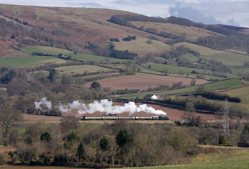 Recreating a branch line scene from the mid-20th century, ex-British Railways 41XX Class 2-6-2 tank No 4160, built at Swindon 65 years ago, climbs through the Quantock Hills past Bicknoller Bridge, between Woolston and Stogumber, on the West Somerset Railway, on March 18, 2013, with the 13.05 Minehead-Bishops Lydeard service. Note the fruit van tucked inside the engine.