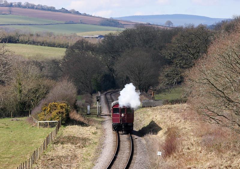 Rail Motor 93, 12.00 Bishops Lydeard-Minehead, Leigh Wood, near Stogumber, 18-3-13.