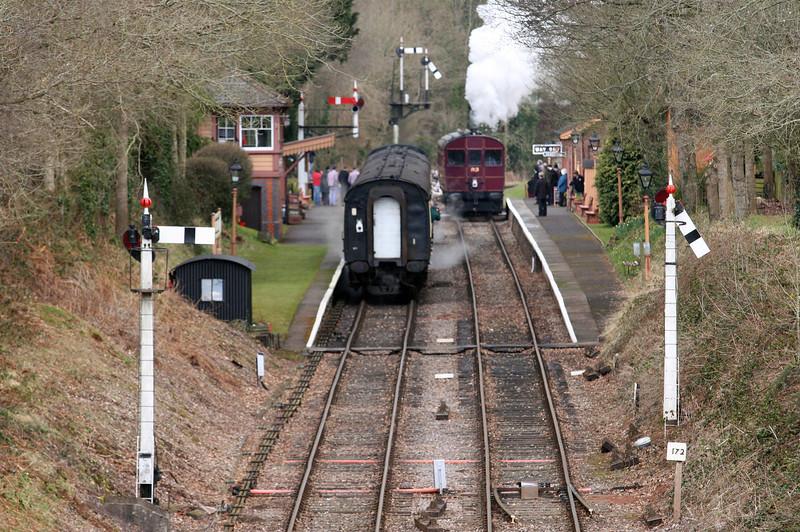 4160, 15.10 Bishops Lydeard-Minehead, Crowcombe Heathfield, 19-3-13; Rail Motor 93, 14.10 Minehead-Bishops Lydeard.