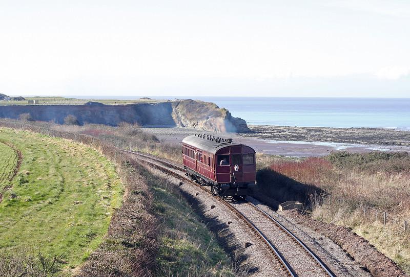 Rail Motor 93, 14.10 Minehead-Bishops Lydeard, Helwell Bay, near Watchet, 18-3-13.