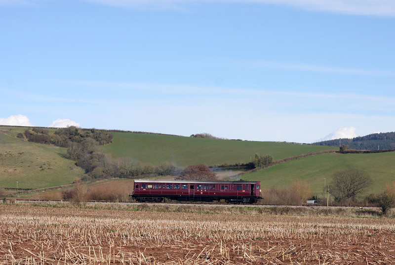 Rail Motor 93, 14.10 Minehead-Bishops Lydeard, between Doniford and Williton, 18-3-13.