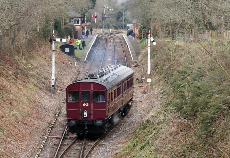 Rail Motor 93, 14.10 Minehead-Bishops Lydeard, Crowcombe Heathfield, 19-3-13.