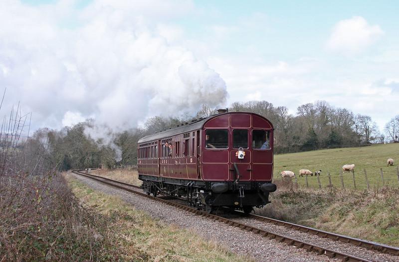 Rail Motor 93, 09.50 Minehead-Bishops Lydeard, Leigh Wood, near Stogumber, 18-3-13.