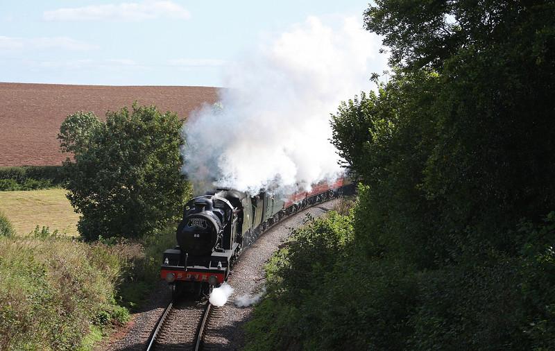 88/34067, 08.05 London Paddington-Minehead, West Somerset Steam Express, Churchlands, near Bishops Lydeard, 29-9-12.
