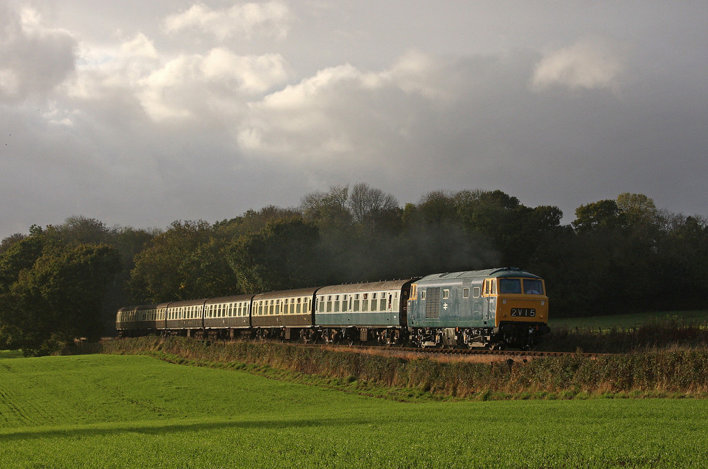 D7017, 15.00 Minehead-Bishops Lydeard, Leigh Wood, near Stogumber, 25-10-09.