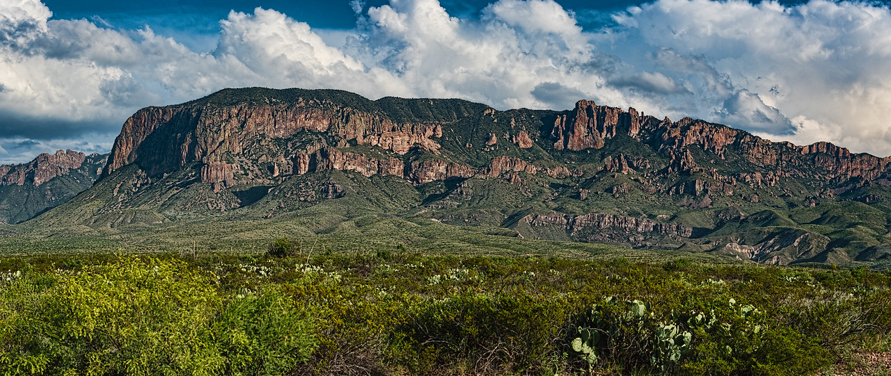 Chisos and the green Chihuahuan desert in late afternoon light