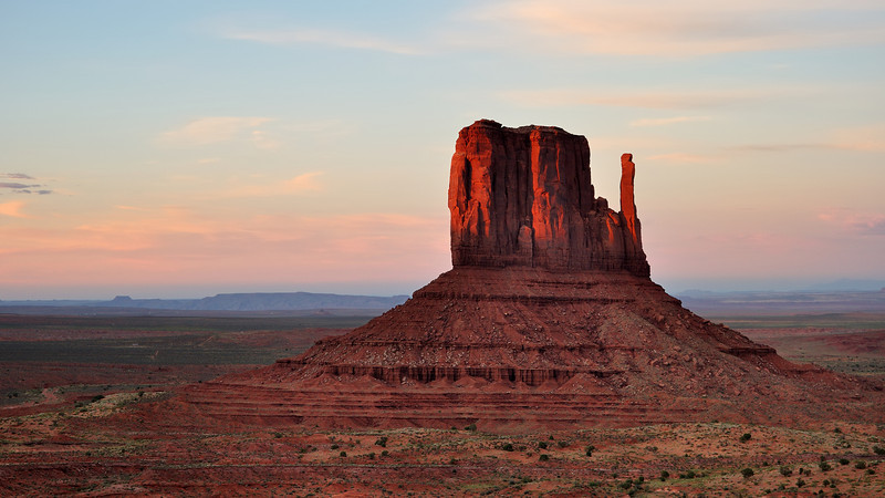 Sunset at Monument Valley, Utah.