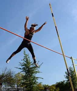 West Valley's Bailey Sulzer clears the bar in the pole vault Friday, April 21, 2017, during the West Valley Invitational at Harrison Stadium in Oroville, California. (Dan Reidel -- Enterprise-Record)