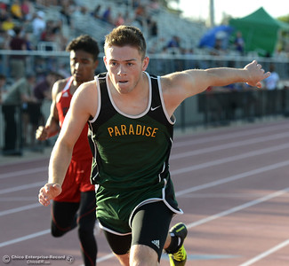Paradise's Jared Mackay leans forward as he crosses the line in the 400-meter Friday, April 21, 2017, during the West Valley Invitational at Harrison Stadium in Oroville, California. (Dan Reidel -- Enterprise-Record)