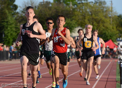 Foothill's Thurman Knowles, left, leads the pack en route to winning the 800-meter run with Bishop Manogue's Daunte Garret (1), Wooster's Alex Mendoza (3), and Galena's McKennion Melton competing Friday, April 21, 2017, during the West Valley Invitational at Harrison Stadium in Oroville, California. (Dan Reidel -- Enterprise-Record)
