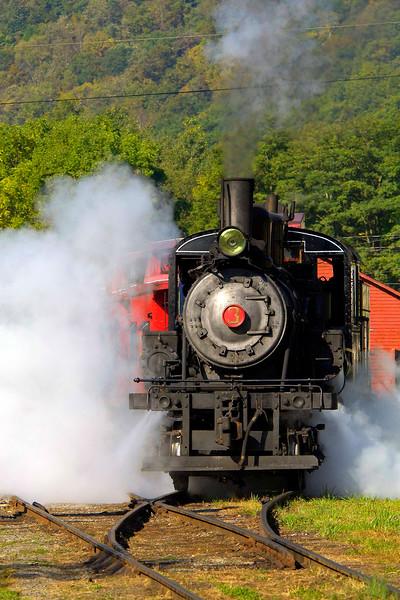 Steam billows from steam locomotive #3 Durbin-Greenbrier Scenic Railroad in Durbin, Pocahontas Co, WV.