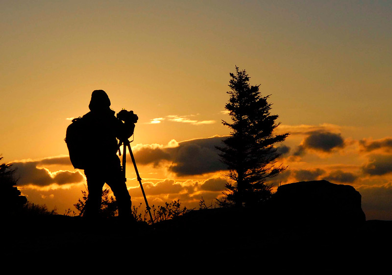 Early morning photographer at sunrise - Bear Rocks area of the Dolly Sods Wilderness in Grant Co, WV.