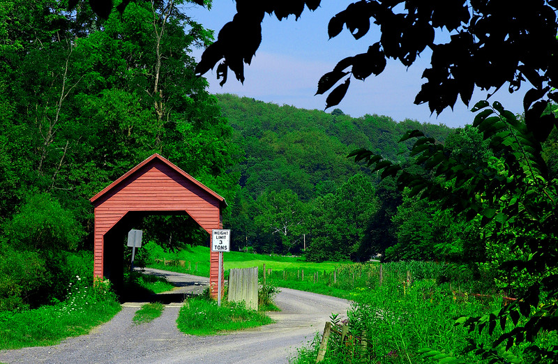 DENTS RUN COVERED BRIDGE<br />   Built sometime after 1889 Dents Run is the only covered bridge remaining in Monongalia County.  W.Y. Loar built the abutments and William and Joseph Mercer built the superstructure.  It is 40 feet in length and 12 feet wide.<br />   To locate the bridge from interstate 79, take Westover exit 152.  Turn south on US route 19 and drive 3.2 miles to Sugar Grove Road.  Turn right and drive 7/10 mile watching carefully on the left for a gravel road.  Take a left turn and drive 1/10 mile directly to the bridge.