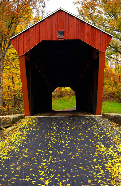 FLETCHER OR TEN MILE CREEK COVERED BRIDGE<br />   Built in 1891, L.E. Sturm built the abutments and Soloman Swiger built the Kingpost truss superstructure.  It is 58 feet in length and 12 feet wide.  It was completely restored in 2002.<br />   To locate this bridge travel US route 50 west of Clarksburg, WV and take Marshville exit 5.  Drive 1.6 mile to this bridge located over the right-hand fork of Ten Mile Creek.