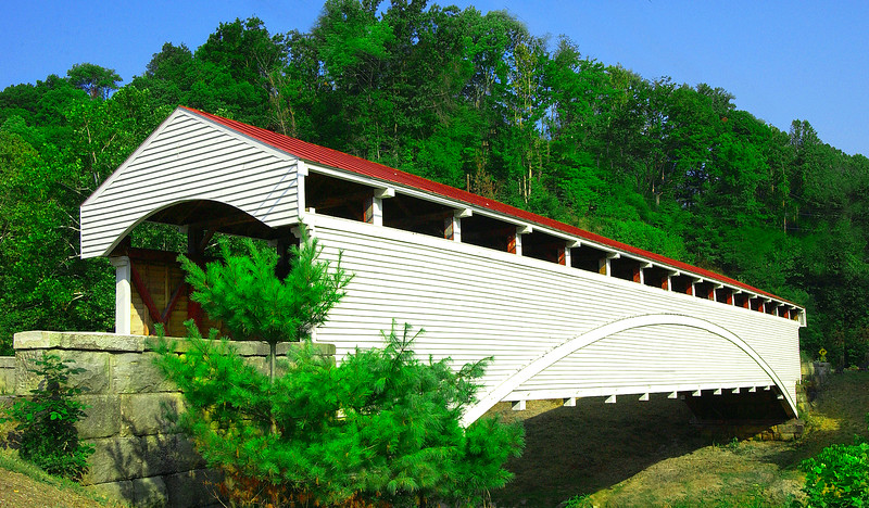 BARRACKVILLE COVERED BRIDGE<br />   Lemuel Chenoweth, a covered bridge builder and contractor from Beverly, built The Barrackville covered bridge in 1853.  It is a multiple Kingport truss with a Burr arch, 148 feet in length and 20 feet wide.  It was completely restored in 1999.<br />   It is located on Marion County Route 21 in Barrackville, West Virginia.