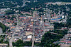 Aerial fo downtown Morgantown showing high street