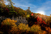 Fall color and sunburst at Coopers Rock