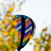 Multi colored hot air balloon through the trees