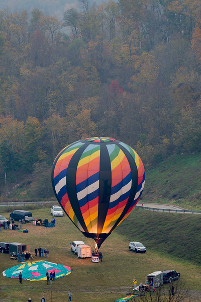 Hot air balloon getting ready for lift off.