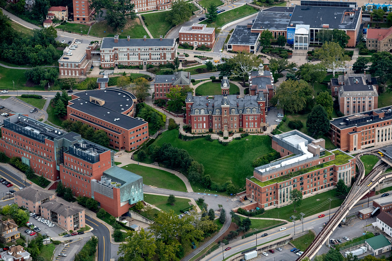 Aerial of Woodburn Hall surrounding buildings downtown campus area and PRT