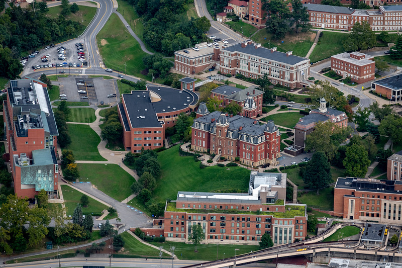 Aerial of Woodburn Hall surrounding buildings downtown campus area