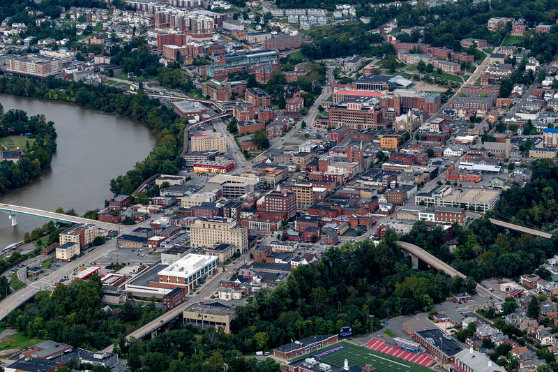 Aerial of downtown morgantown with river