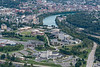 Aerial of Evansdale Campus with river