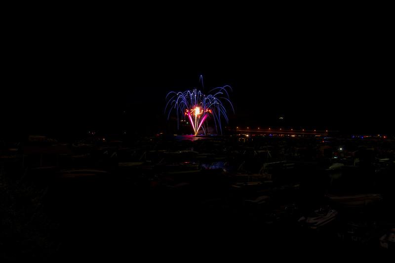 Fireworks near the marrina of the lake