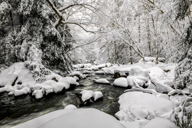 Stream flowing through a winter wonderland