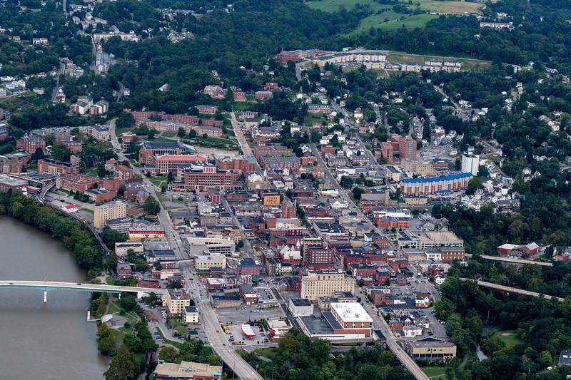 Aerial of Morgantown West Virginia showing bridge