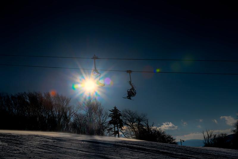 Sunny day on the ski lift