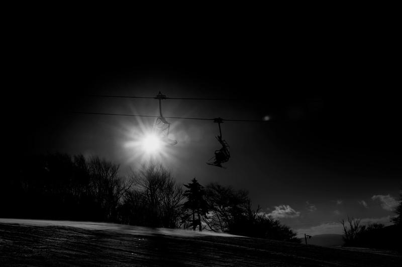 Ski lift heading to the top