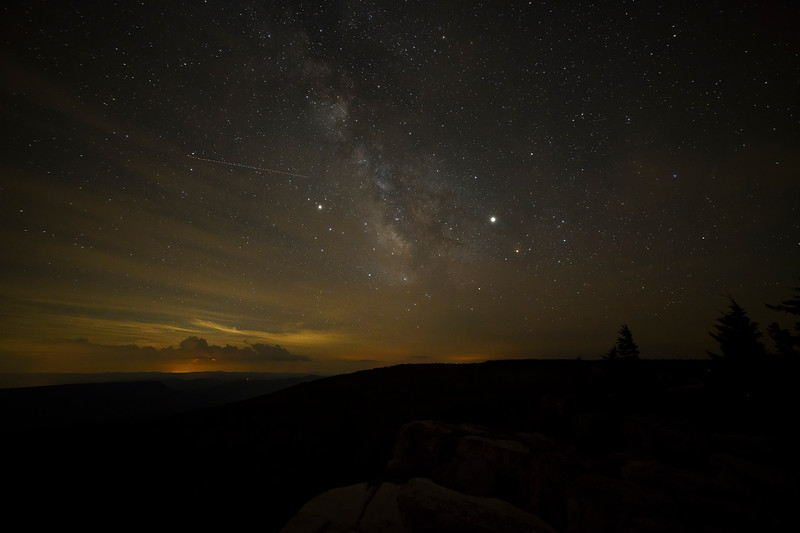 Milky Way from Dolly Sods with thunderstorms in distance