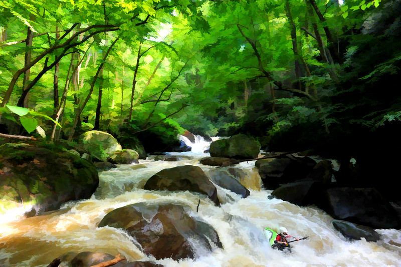 "Kayaker running flooded small stream<br /> <br /> to purchase - <a href=""http://dan-friend.artistwebsites.com/featured/kayaker-running-flooded-small-stream-dan-friend.html"">http://dan-friend.artistwebsites.com/featured/kayaker-running-flooded-small-stream-dan-friend.html</a>                                                             .............................................pixel paintography"
