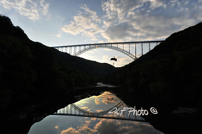 """New River Bridge - Base Jumper<br /> <br /> Framed, metal, canvas order at this website - <a href=""""http://fineartamerica.com/featured/new-river-bridge--base-jumper-dan-friend.html"""">http://fineartamerica.com/featured/new-river-bridge--base-jumper-dan-friend.html</a>                                                             .............................................pixel paintography"""