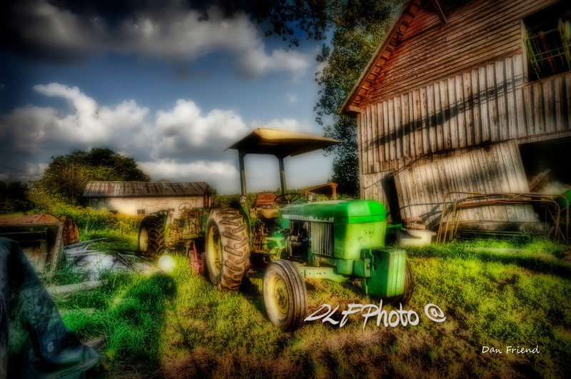 """Old tractor in field by barn<br /> <br /> Framed, metal, canvas order at this website - <a href=""""http://dan-friend.artistwebsites.com/featured/old-tractor-in-field-by-barn-dan-friend.html"""">http://dan-friend.artistwebsites.com/featured/old-tractor-in-field-by-barn-dan-friend.html</a>                                                             .............................................pixel paintography"""