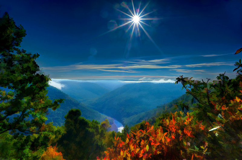 """Bright sun in morning Cheat River Gorge<br /> <br /> to purchase - <a href=""""http://dan-friend.artistwebsites.com/featured/bright-sun-in-morning-cheat-river-gorge-dan-friend.html?newartwork=true"""">http://dan-friend.artistwebsites.com/featured/bright-sun-in-morning-cheat-river-gorge-dan-friend.html?newartwork=true</a>                                                             .............................................pixel paintography"""