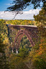The New River Bridge over the New River Gorge with fall foliage color in West Virginia, USA.