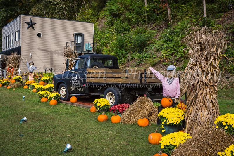 A roadside autumn pumpkin display near Charleston, West Virginia, USA.