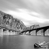 Railroad Bridges Converge in Black and White