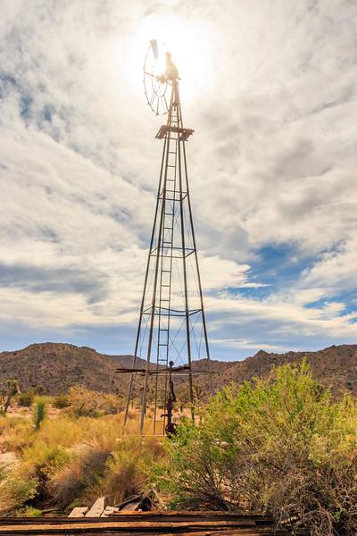 CA-Joshua Tree National Park-Wall Street Mine trail-Wind powered water pump