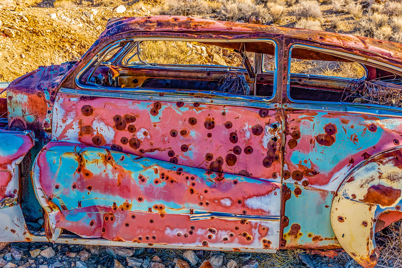California-Death Valley National Park-Aguereberry Camp-Abondoned car used for target practice.
