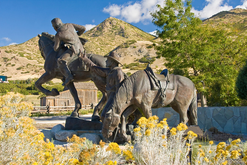 """UT-SALT LAKE CITY """"THIS IS THE PLACE""""-PONY EXPRESS STATUE"""